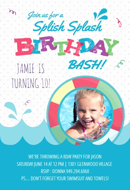 Kids Pool Party Invitation Luxury Pool Party Invitation Templates Free