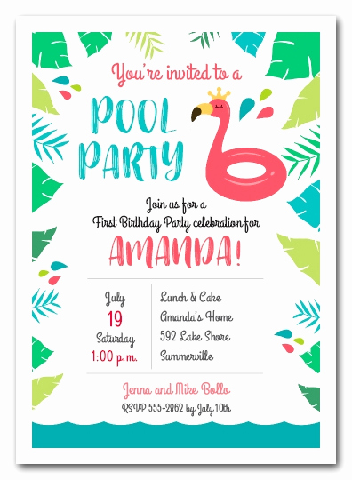 Kids Pool Party Invitation Unique Pink Flamingo Pool Float Party Invitations