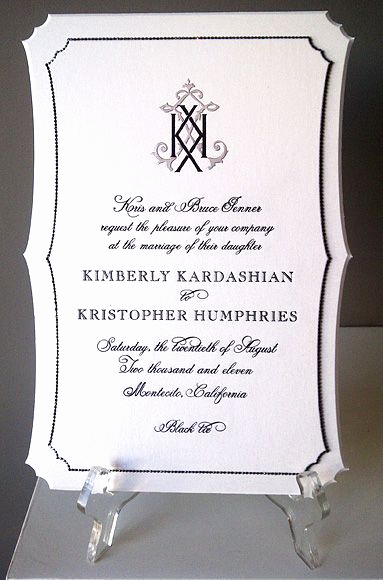 Kim Kardashian Wedding Invitation Beautiful Gallery Black White and
