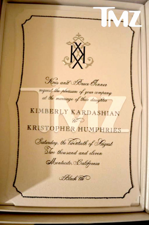 Kim Kardashian Wedding Invitation Beautiful Kim Kardashian S Simple and Elegant Wedding Invites