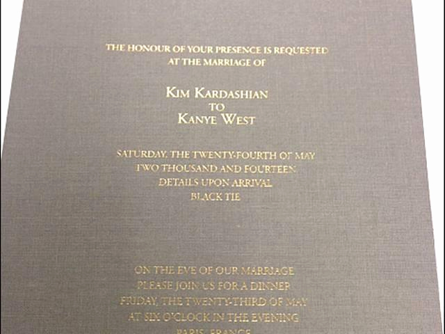 Kim Kardashian Wedding Invitation New Kim Kardashian Kanye West's Wedding Invitation Revealed