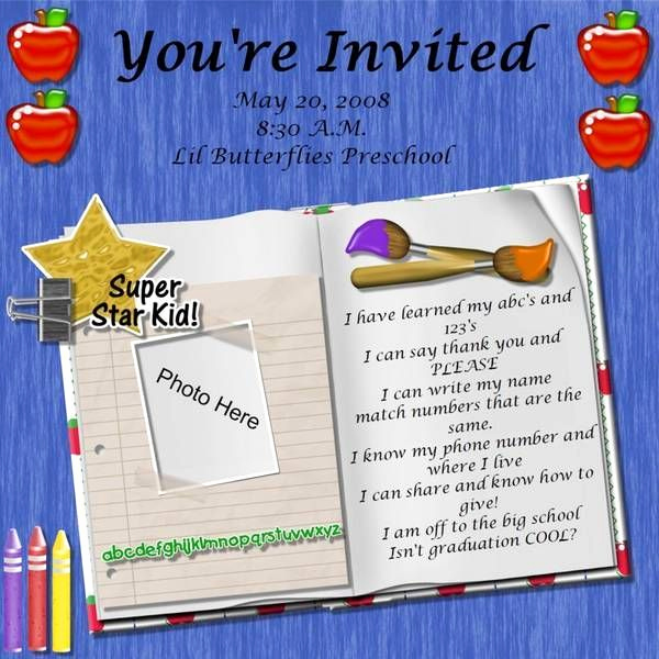 Kindergarten Graduation Invitation Ideas Beautiful Preschool Graduation Poem