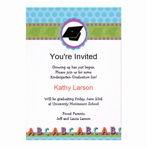 "Kindergarten Graduation Invitation Ideas Elegant Kindergarten Graduation Invitation 5"" X 7"" Invitation Card"