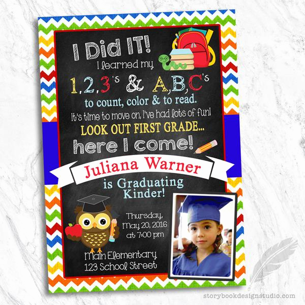 Kindergarten Graduation Invitation Ideas Elegant Pre K or Kindergarten Graduation Invitation – Storybook