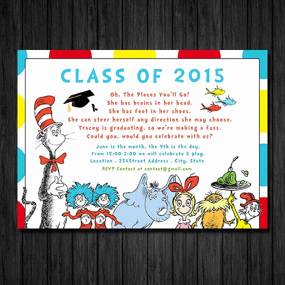 Kindergarten Graduation Invitation Ideas Lovely Dr Suess Graduation Preschool Kindergarten Graduation