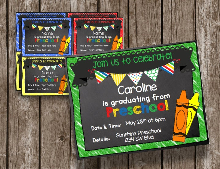 Kindergarten Graduation Invitation Ideas New Off Sale Preschool Graduation Invitation Instant