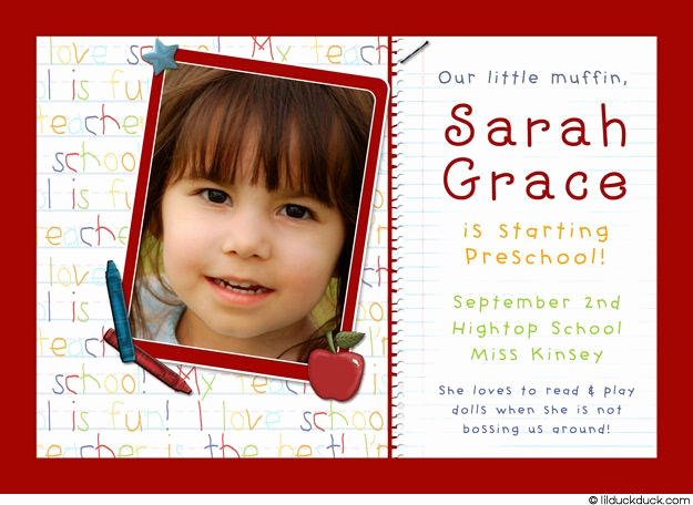 Kindergarten Graduation Invitation Ideas Unique First Day Of Preschool Card Crayons Apples