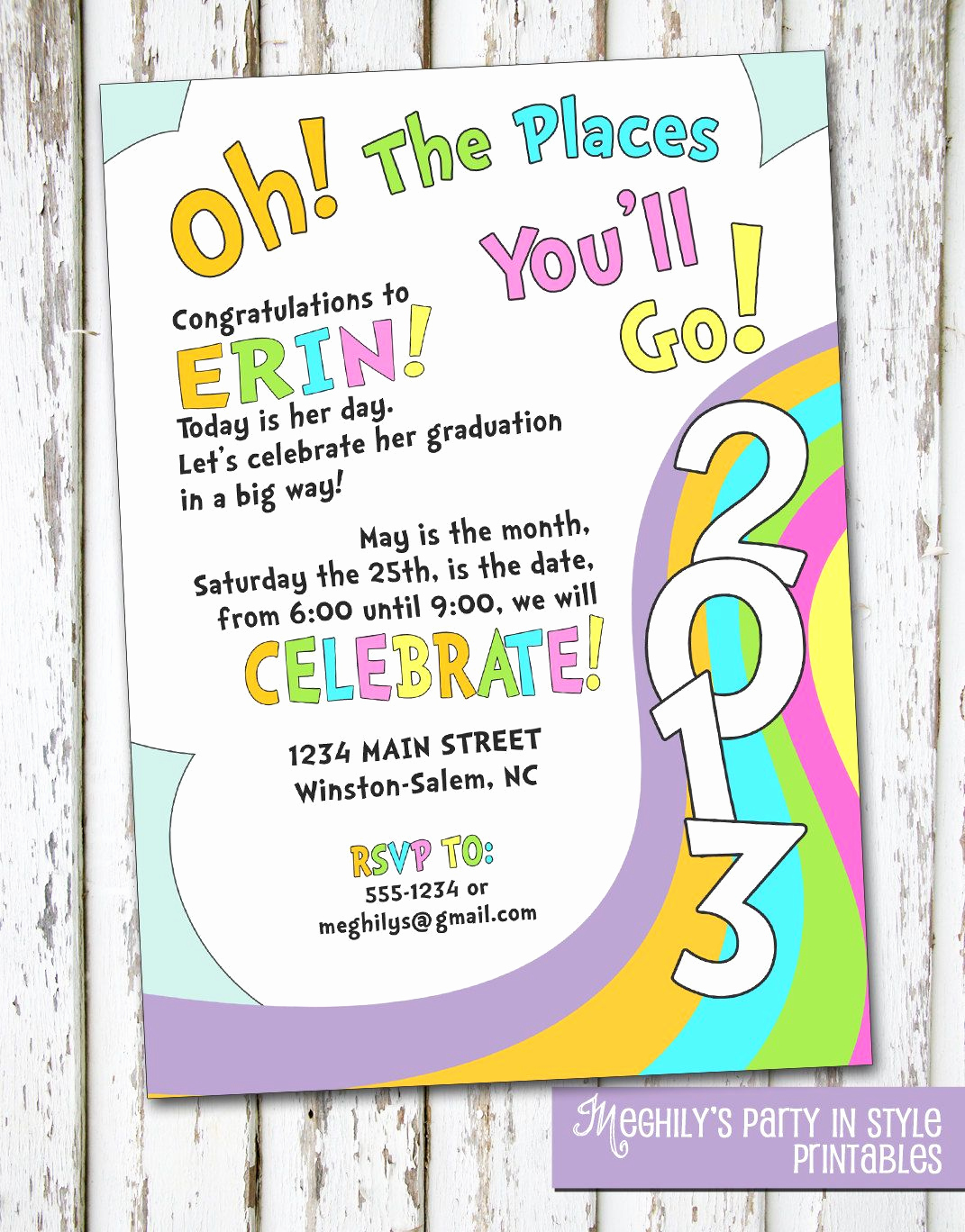 Kindergarten Graduation Invitation Ideas Unique Oh the Places Youll Go Graduation Invitation $8 00