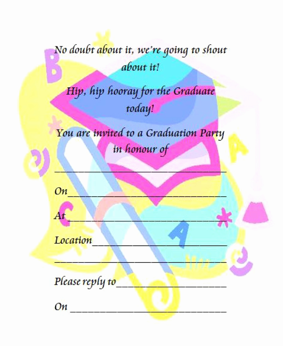 Kindergarten Graduation Invitation Template Awesome 40 Free Graduation Invitation Templates Template Lab