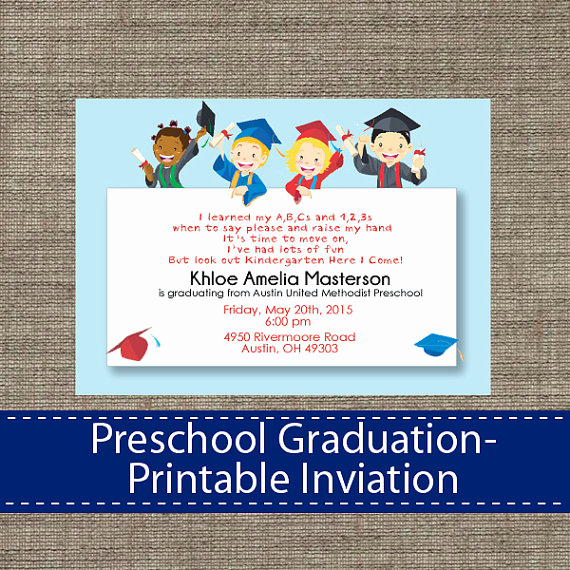 Kindergarten Graduation Invitation Template Best Of Preschool Graduation Invitation Diy Printable