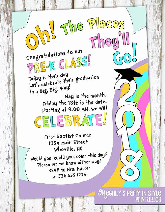 Kindergarten Graduation Invitation Template Fresh Oh the Places You Ll Go Preschool Graduation Invitation