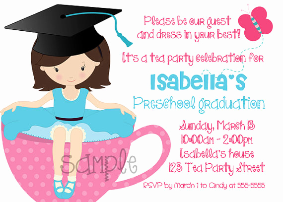 Kindergarten Graduation Invitation Template Inspirational Preschool Kindergarten Graduation Tea Party Invitation