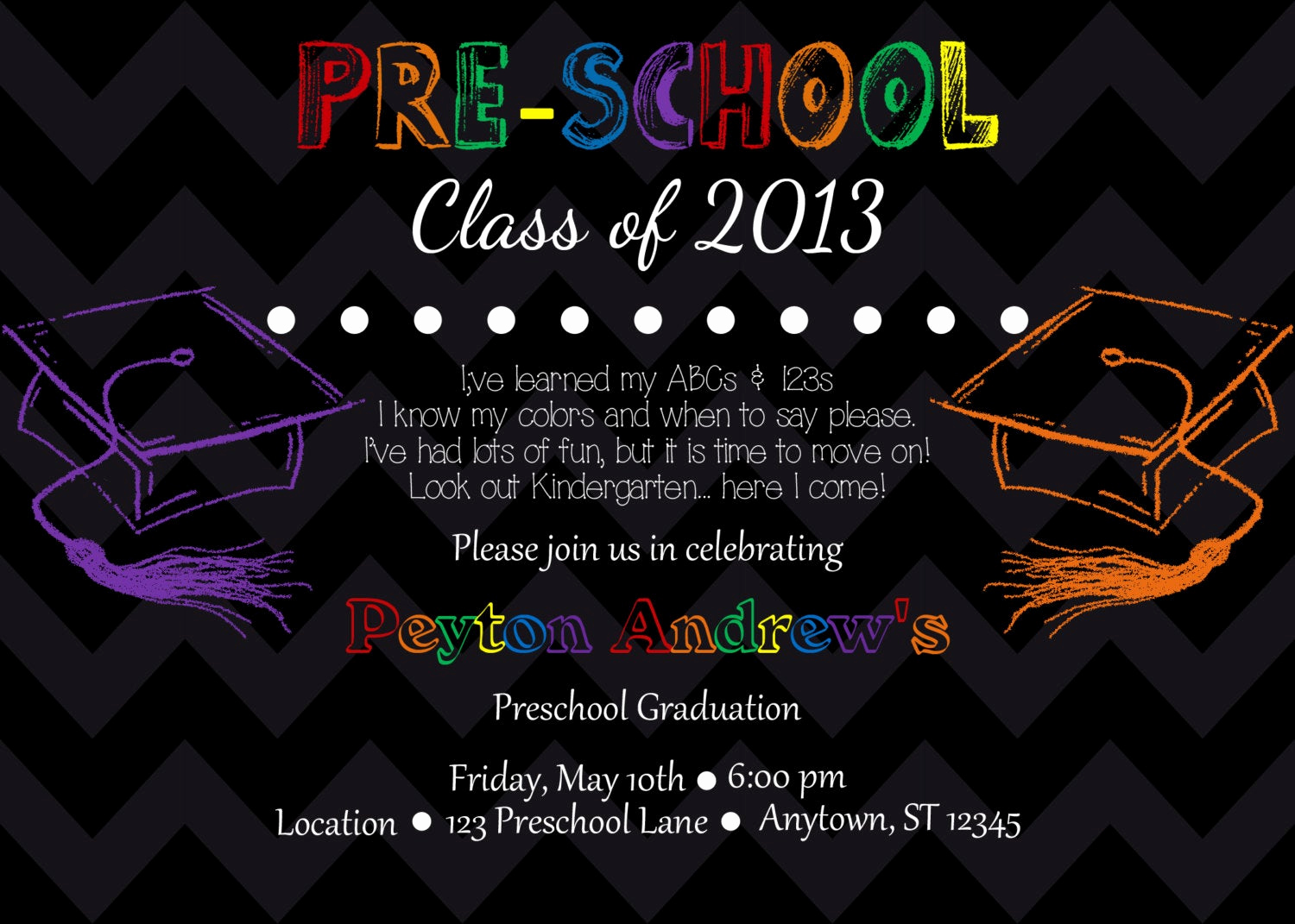 Kindergarten Graduation Invitation Template Luxury Preschool Kindergarten Graduation Invitation by