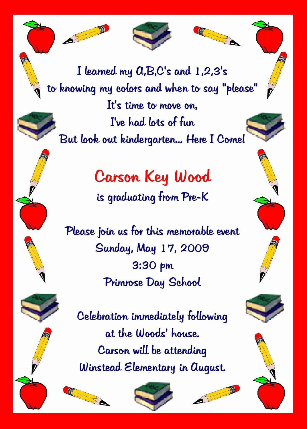 Kindergarten Graduation Invitation Template New Preschool Graduation Quotes Quotesgram by Quotesgram
