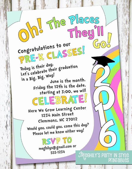 Kindergarten Graduation Invitation Template Unique Oh the Places You Ll Go Preschool Graduation by Meghilys
