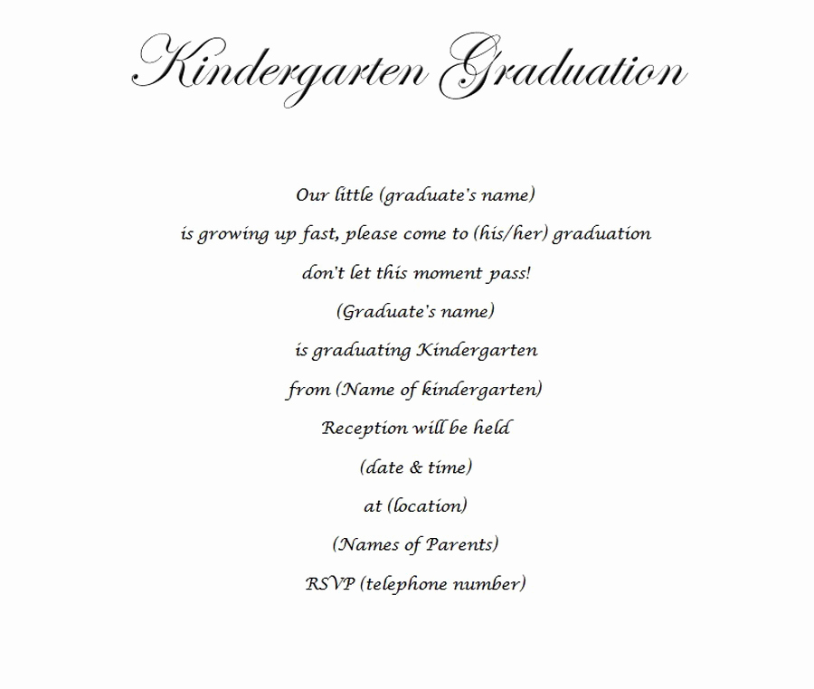 Kindergarten Graduation Invitation Templates Free Beautiful Kindergarten Graduation Invitation 2 Wording