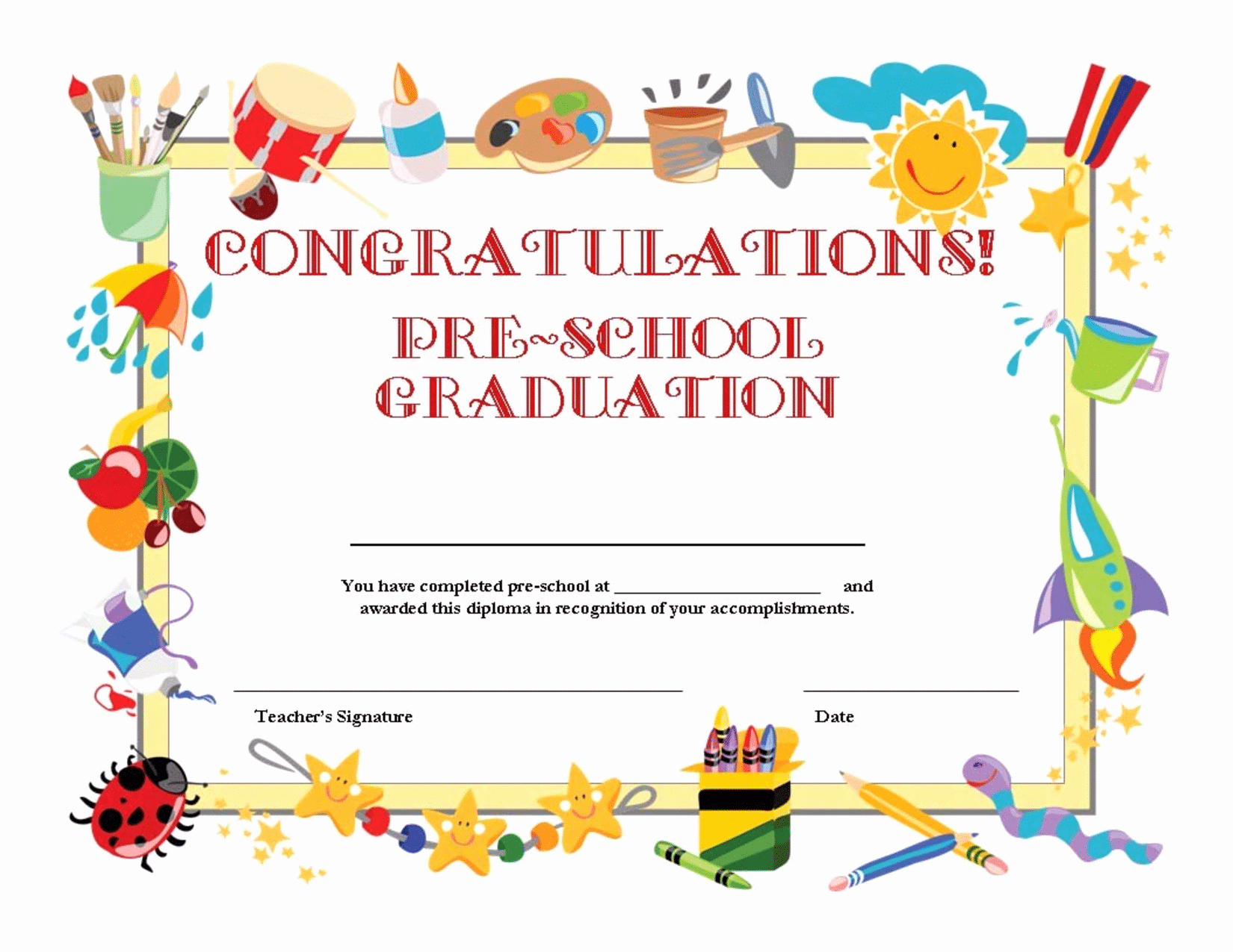 Kindergarten Graduation Invitation Templates Free Elegant Free Preschool Graduation Invitation Template