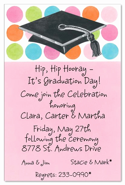 Kindergarten Graduation Invitation Wording Awesome Graduation Party Wording