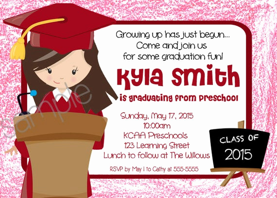 Kindergarten Graduation Invitation Wording Beautiful Girl Preschool Kindergarten Graduation Invitation