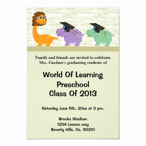 Kindergarten Graduation Invitation Wording Best Of Dinosaur Fun Preschool Kindergarten Graduation 3 5x5