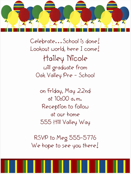 Kindergarten Graduation Invitation Wording Inspirational Pre School Graduation Invitation