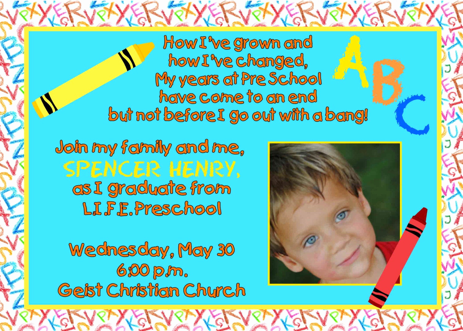 Kindergarten Graduation Invitation Wording Lovely Digital Preschool Kindergarten Graduation by