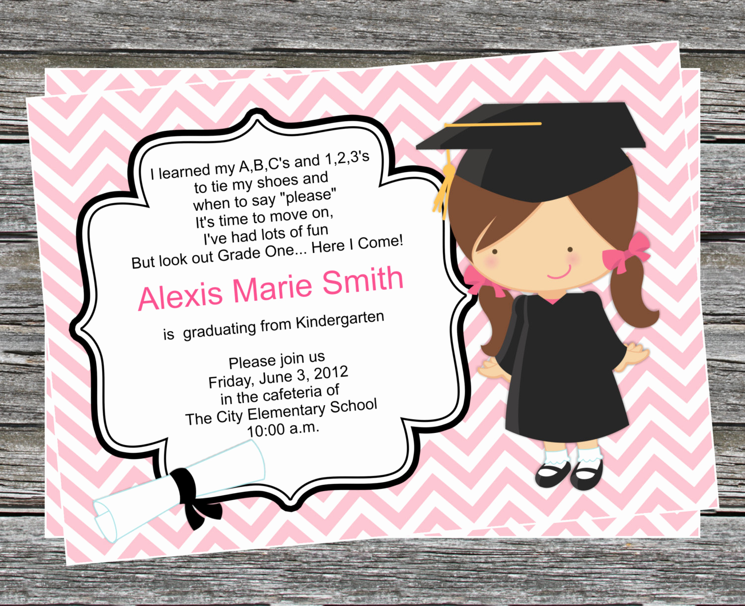 Kindergarten Graduation Invitation Wording Lovely Diy Girl Pre K or Kindergarten Graduation Invitation