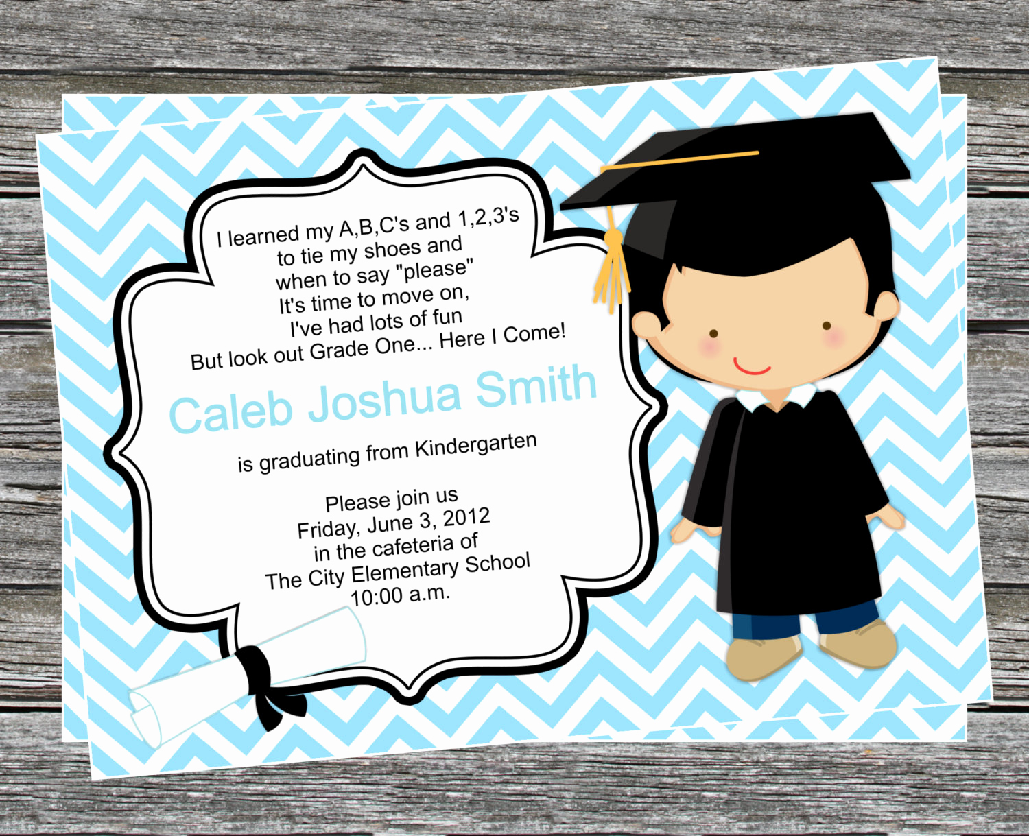 Kindergarten Graduation Invitation Wording Unique Diy Boy Pre K or Kindergarten Graduation Invitation