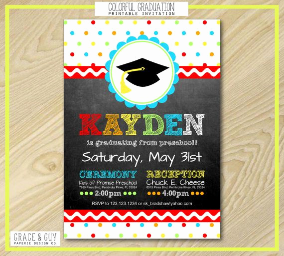 Kindergarten Graduation Invitation Wording Unique Graduation Announcement Preschool Graduation