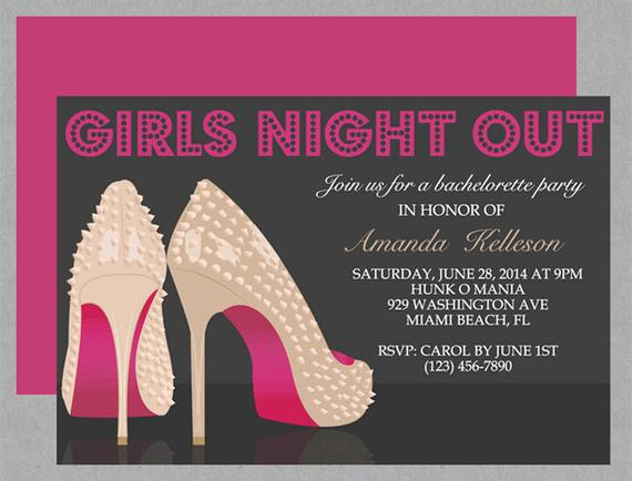 Ladies Night Invitation Wording Awesome Spiked Stilettos Girls Night Out Invite Editable by