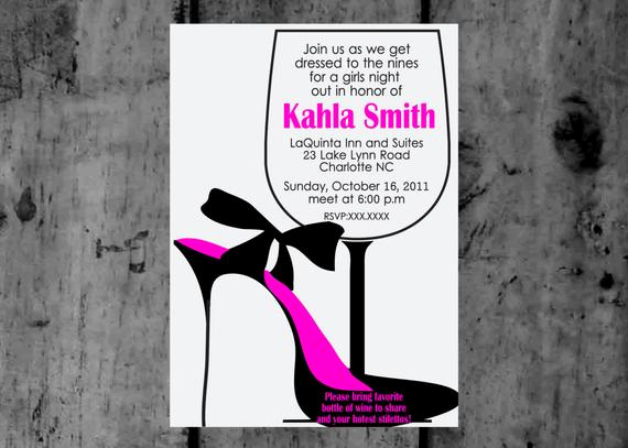 Ladies Night Invitation Wording Lovely Items Similar to Stilettos and Wine La S Night Out Party