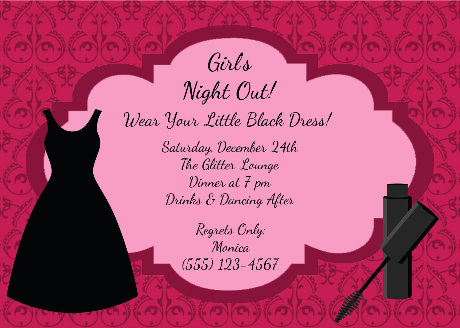 Ladies Night Invitation Wording New Girls Night Out Invitation Great for Bachelorette Party Diy