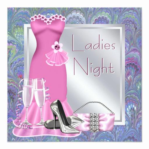 Ladies Night Invitation Wording New Silver Pink Champagne Purple Pink La S Night Invitation