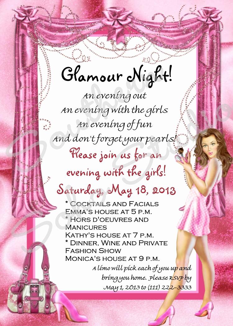 Ladies Night Invitation Wording Unique Glamour Girls Night Party Invitations Set Of 10