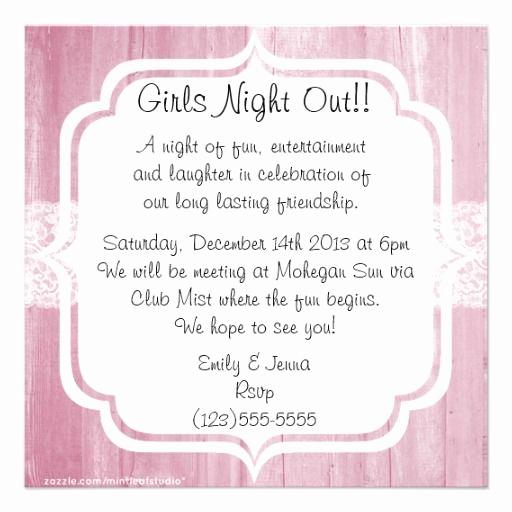 Ladies Night Invitation Wording Unique Shabby Chic Vintage Pink Wood Girls Night Out Invitation