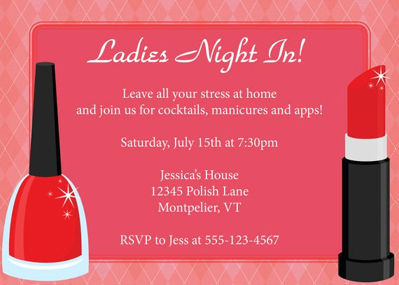 Ladies Night Out Invitation Wording Awesome Items Similar to La S Night In Invitation Diy Printable
