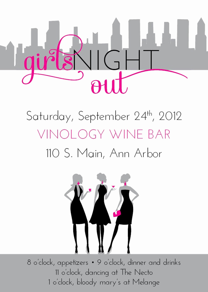 Ladies Night Out Invitation Wording Beautiful 7 Best Girls Night Out Invitations & Party Ideas Images On