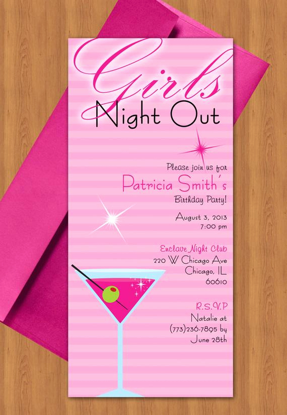 Ladies Night Out Invitation Wording New Girls Night Out Invitation Design Editable Template