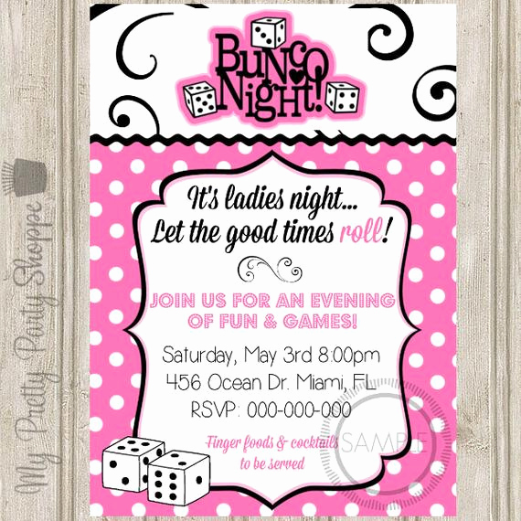 Ladies Night Out Invitation Wording Unique Bunco Night La S Night Party Invitation
