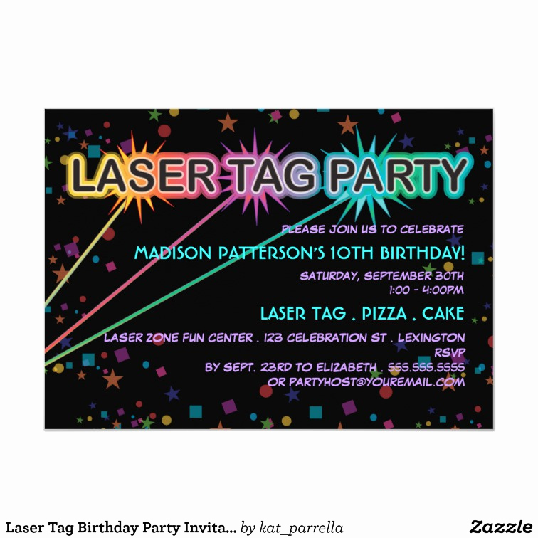Laser Tag Invitation Template Awesome Laser Tag Birthday Party Invitation