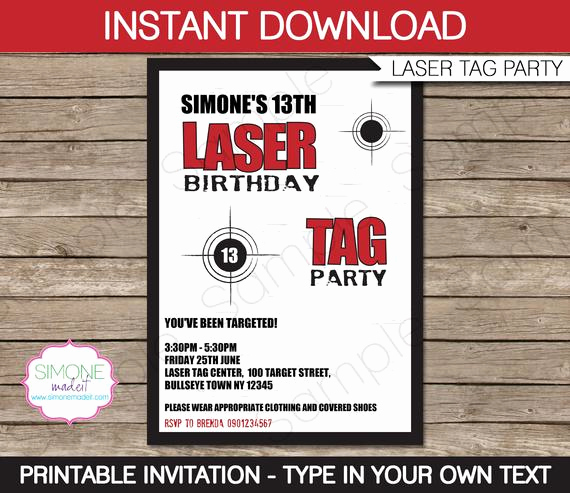 Laser Tag Invitation Template Awesome Laser Tag Invitation Template Birthday Party Instant