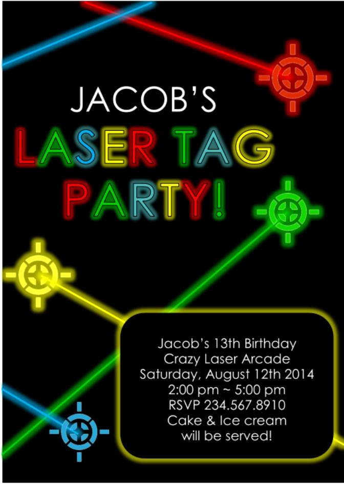 Laser Tag Invitation Template Awesome Laser Tag Party Invitation Editable — Partygamesplus