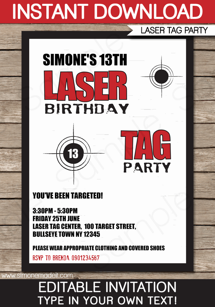 Laser Tag Invitation Template Awesome Laser Tag Party Invitations