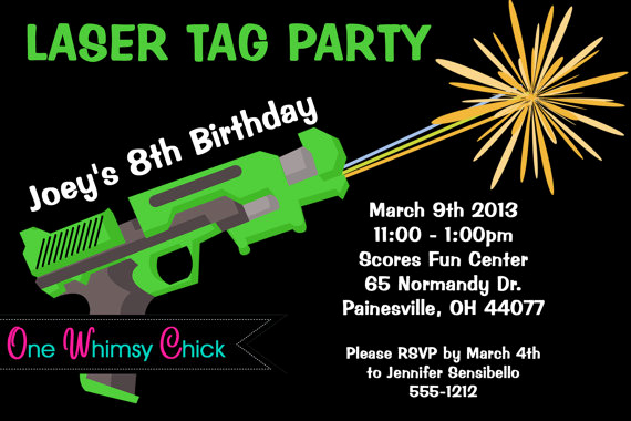 Laser Tag Invitation Template Beautiful Laser Tag Birthday Party Invitations Template