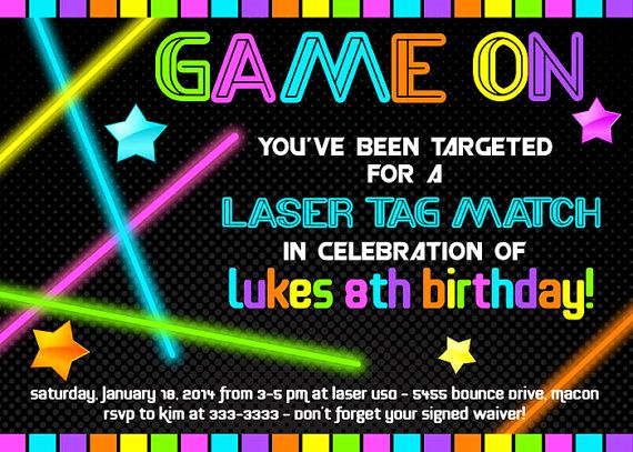 Laser Tag Invitation Template Beautiful Laser Tag Invitation Laser Tag Birthday Invitation Neon