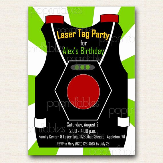 Laser Tag Invitation Template Lovely Laser Tag Vest Party Invitation Boy Green and White