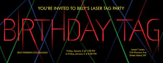 Laser Tag Invitation Template Unique Birthday Tag Invitation