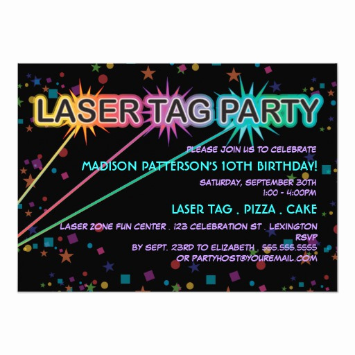Laser Tag Invitation Wording Awesome Laser Tag Birthday Party Invitation