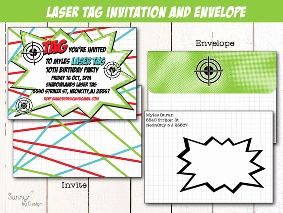 Laser Tag Invitation Wording Awesome Laser Tag Party 4x6 or 5x7 Printable Invitation and