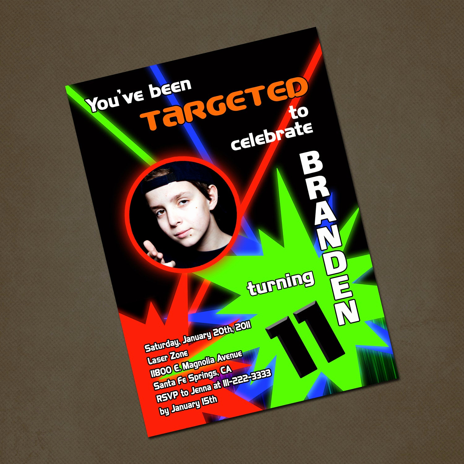 Laser Tag Invitation Wording Beautiful Laser Tag Birthday Invitation Red Green by